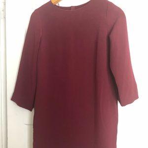 Long sleeve red midi dress